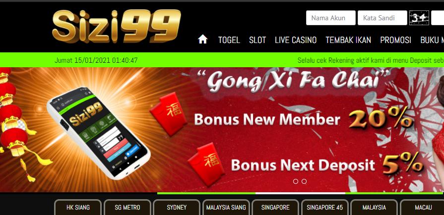 Sizi99 Dapatkan Bonus New Member 20% dan Bonus Next Deposit 5%