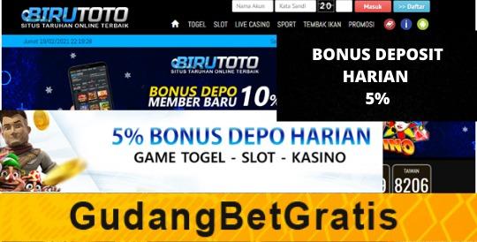 BIRUTOTO- BONUS DEPOSIT HARIAN  5%