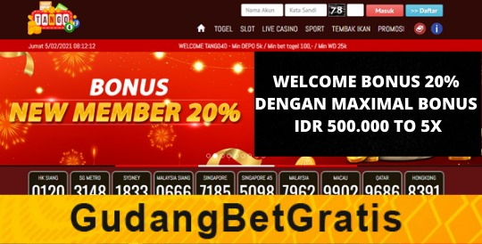 TANGO4D- WELCOME BONUS 20%  DENGAN MAXIMAL BONUS IDR 500.000 TO 5X