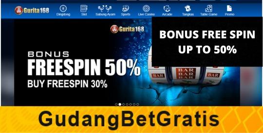 GURITA168- BONUS FREE SPIN UP TO 50%