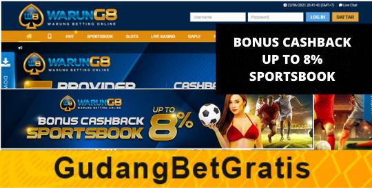 WARUNG8- BONUS CASHBACK UP TO 8% SPORTSBOOK